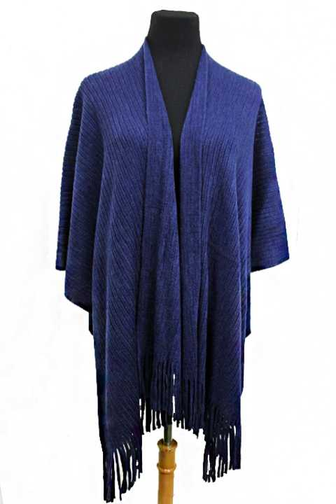 Cashmere Feel Ribbed All Over Textured Poncho