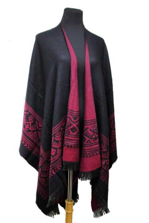 Aztec Pattern Southwest Border Ruana Reversible Super Softness Poncho