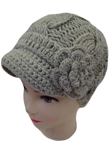 Cable Knitted and Flower Beanie Cap