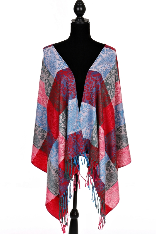 Checked Floral Vineyard Silky Soft Pashmina Scarves