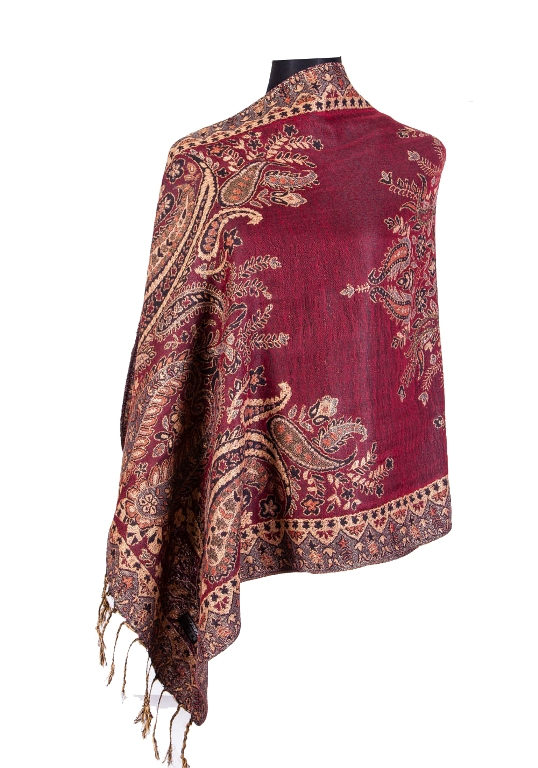 Large Bold Glittered Paisley Edge Pattern Pashminas