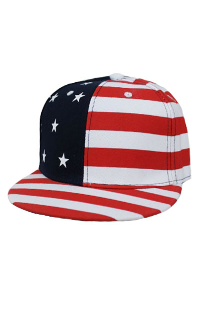 American Flag Printed Snapback With USA Lettering