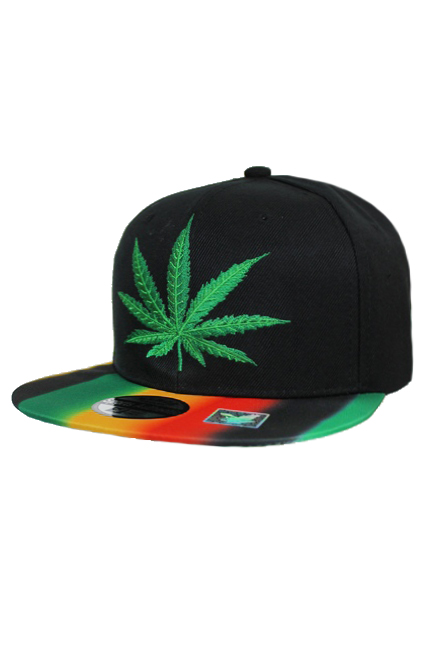 One Love Rasta Bill Marijuana Leaf Embroidered Snap Back