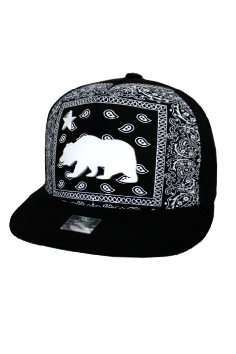 Cali Bear Silicon Patch Portrait With Classic Paisley Bandana Back Ground Snap Back