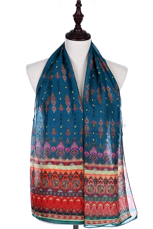 Ornate Gypsy Chic Bohemian Pattern Chiffon Textured Scarves