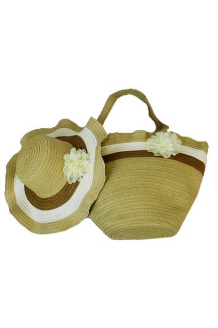 Tri Colored Wavy Floppy Sunhat And Tote Set