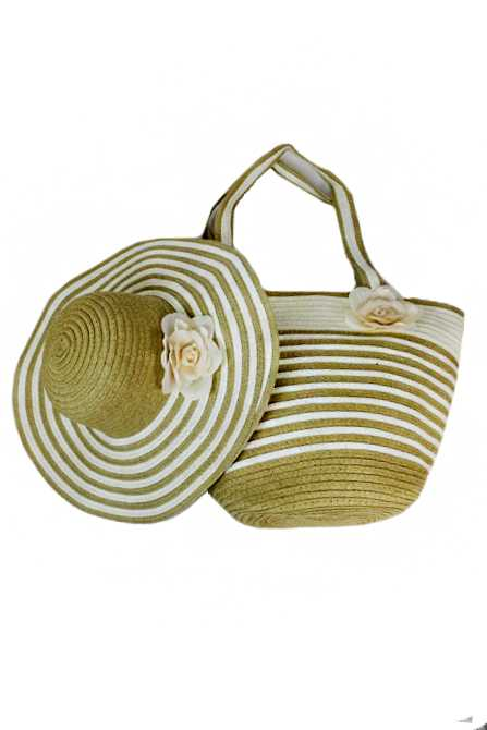 Stripped Combo Tote and Floppy Sun Hat Set