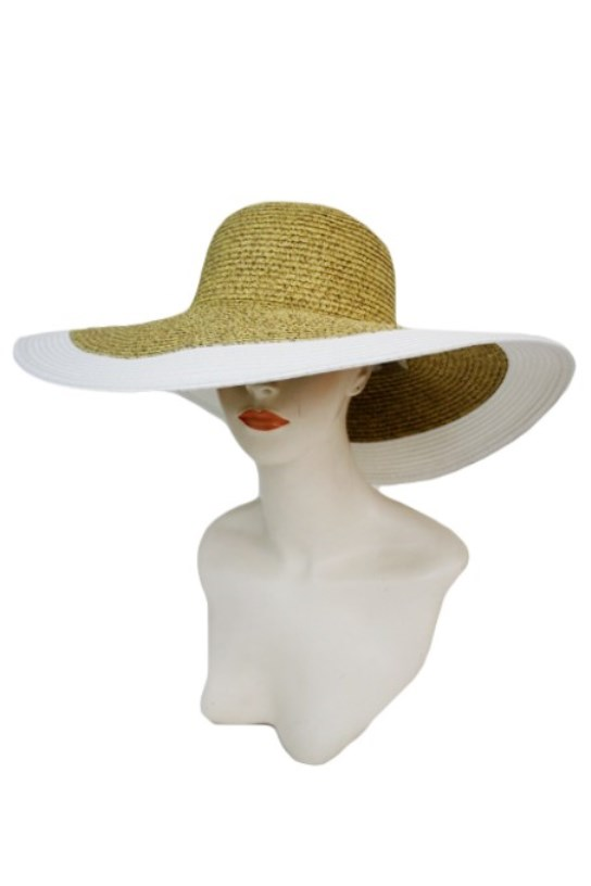 Standard Brimmed and Thick Outlined Two Tone Toyo Straw Sun Hat