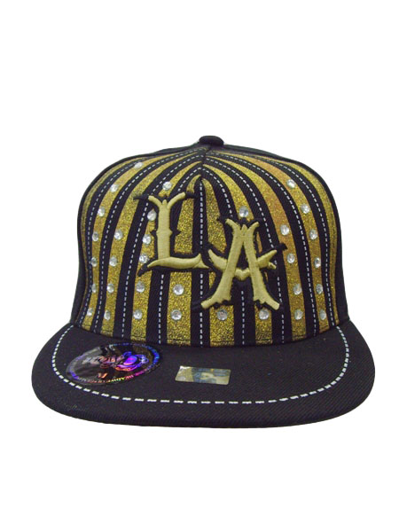L,A Cap fitted shinny striped with stones