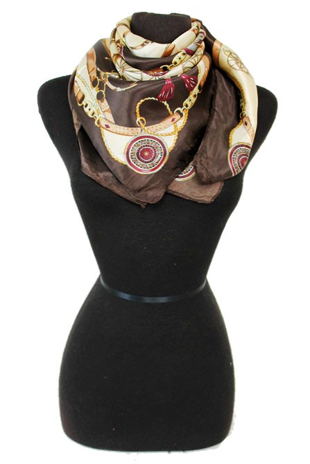 Luxurious and Antique Items Printed Silk Felt Twill Square Scarf