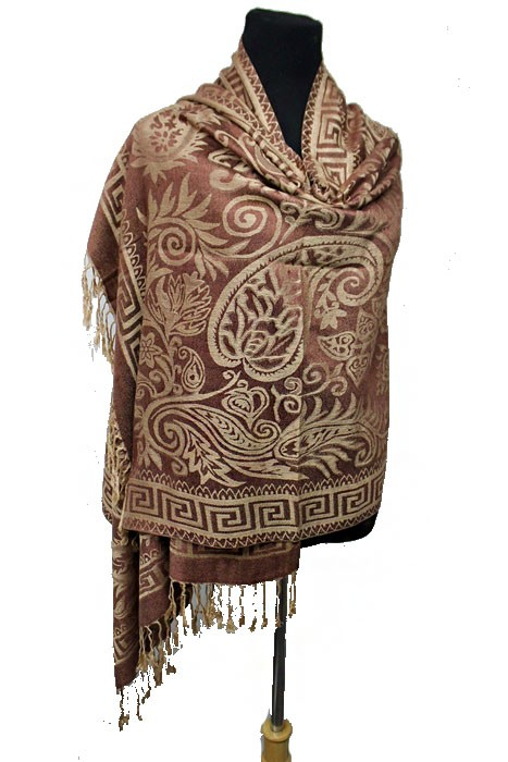 Greek Key Outline & Paisley & Daisy Patterned Soft Pashmina Scarf