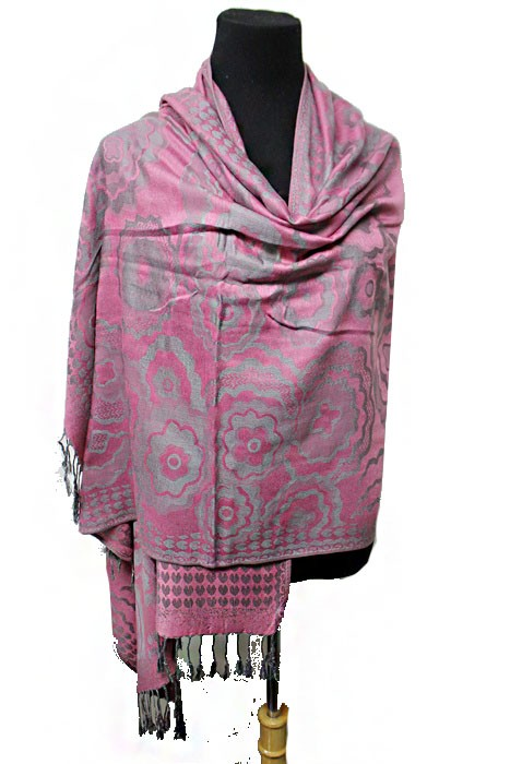 Water Color Toned & Blossomed Flower and Heart Patterned Soft Pashmina Scarf