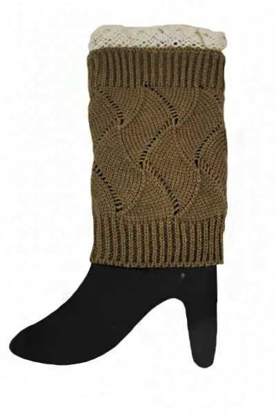 Above The Ankle Minimal Ribbed Knit Pattern With Lace Trim Leg Warmers