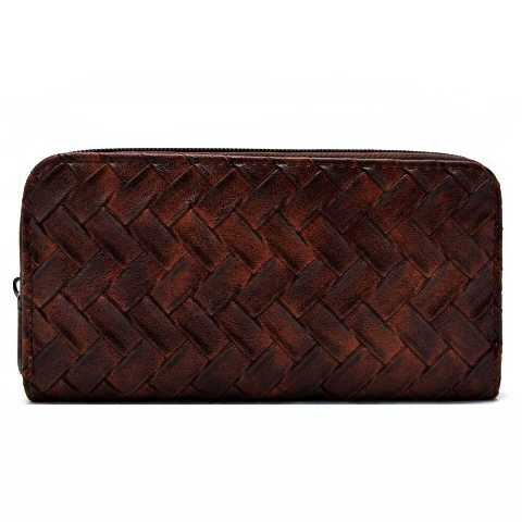 Zig Zag Knit Faux Leather Fashion Wallet with Zipper Closure