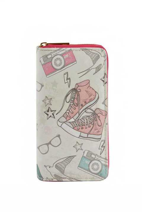 Doodled Design Fashion Wallet with Gold Zipper Closure