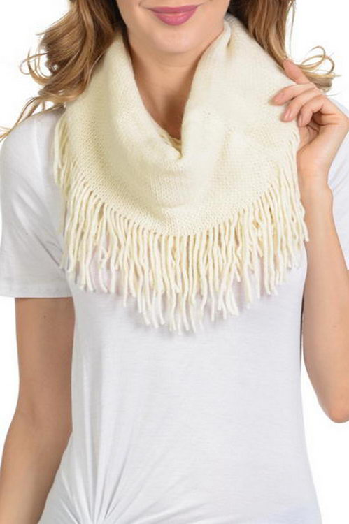 Cashmere Feel with fringe Soft infinity Scarf