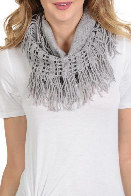 Crochet Hole Design with Fringe Soft Infinity Scarf