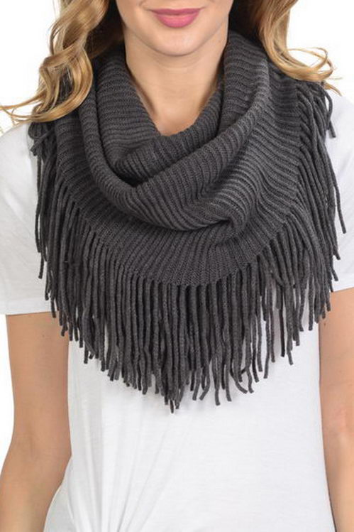 Striped Thick Knitted with Fringe Soft Infinity Scarf