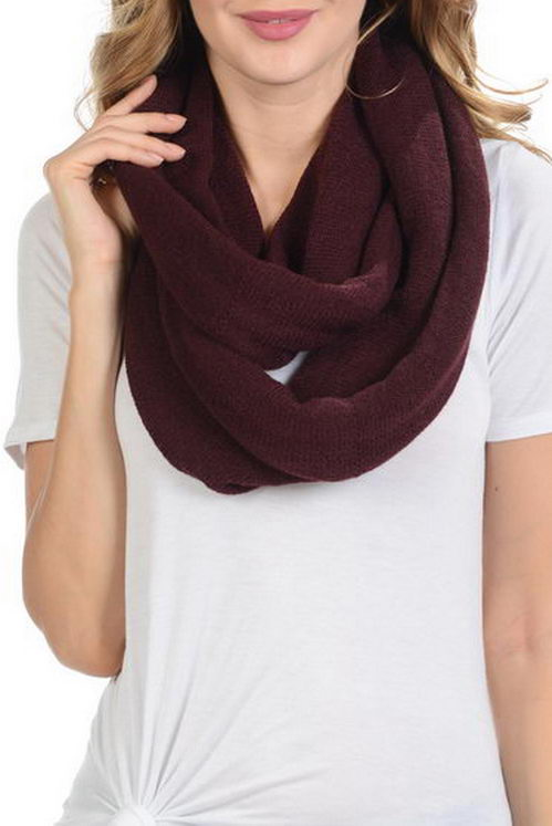 Solid Soft Knitted infinity Scarf
