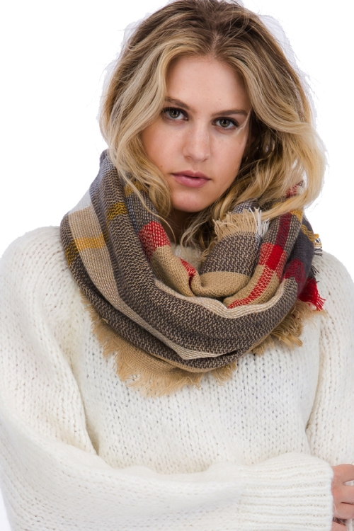 Plaid Pattern with Vintage Style Fringe Softness Infinity Scarf