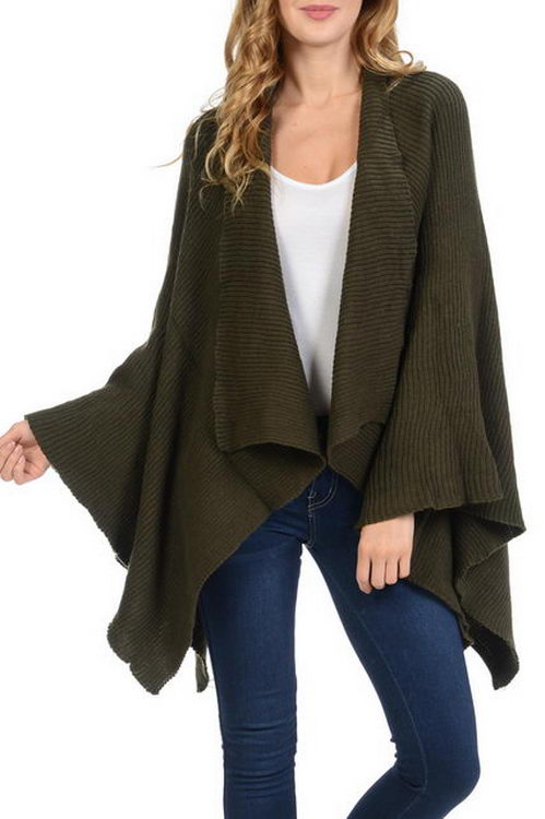 Striped Pattern Thick Knitted Open Poncho
