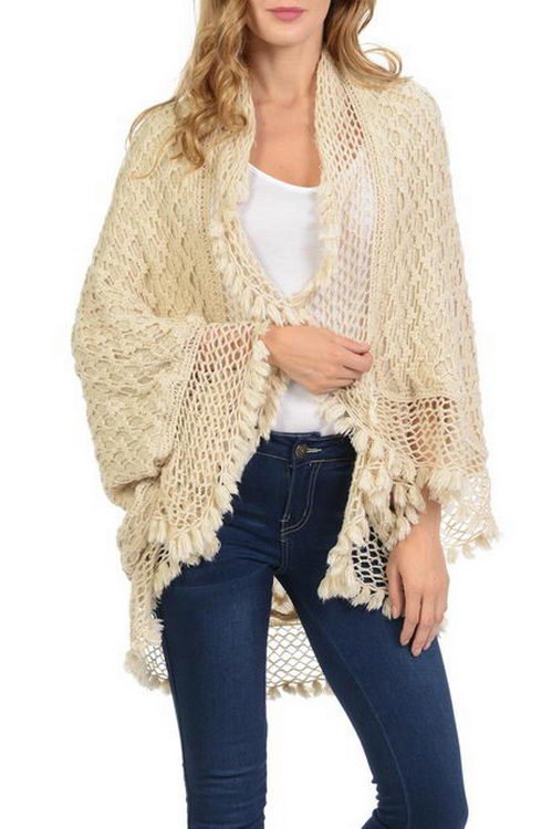 Double Layer Net Pattern with Tassel Design Shawls Poncho