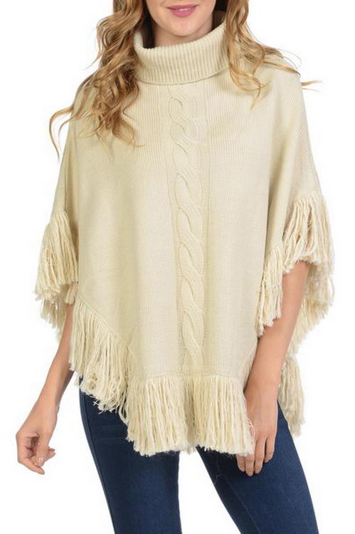 Big Cable Pattern Turtleneck Style Soft Thick Sweater with Fringe Poncho