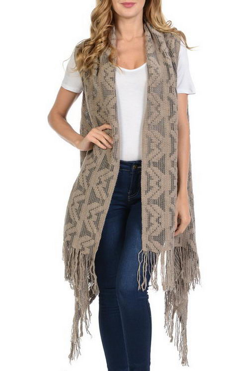 Aztec Pattern long Vest Style with Fringe