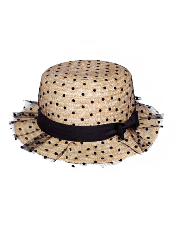 Fashion Styled Tulle Polka Dot Boater Hat