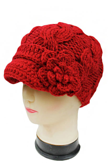 731cf236ce0 Super Soft Cable Knitted Beanie with Knit Visor and Flower Accent.
