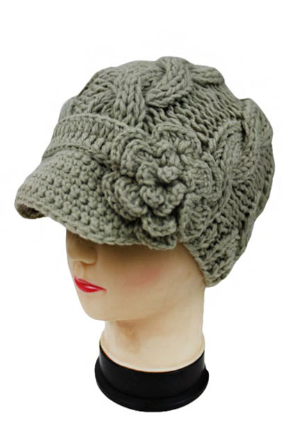 Super Soft Cable Knitted Beanie with Knit Visor and Flower Accent.