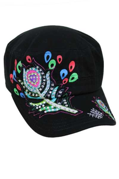 Cadet Cap Colorful Peacock Feather Design.