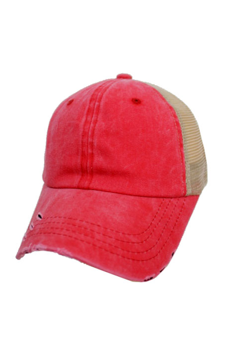 1383164952a Two Tone Pigment Dyed Distressed Strap Back Trucker Cap