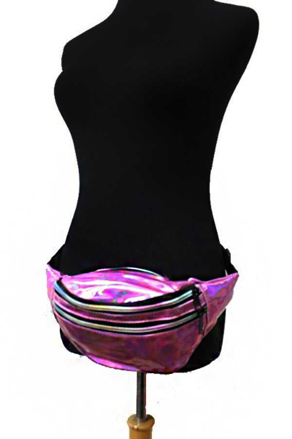 Triple compartment Iridescent Pocket Round Pouch Fanny Pack Waist Bag