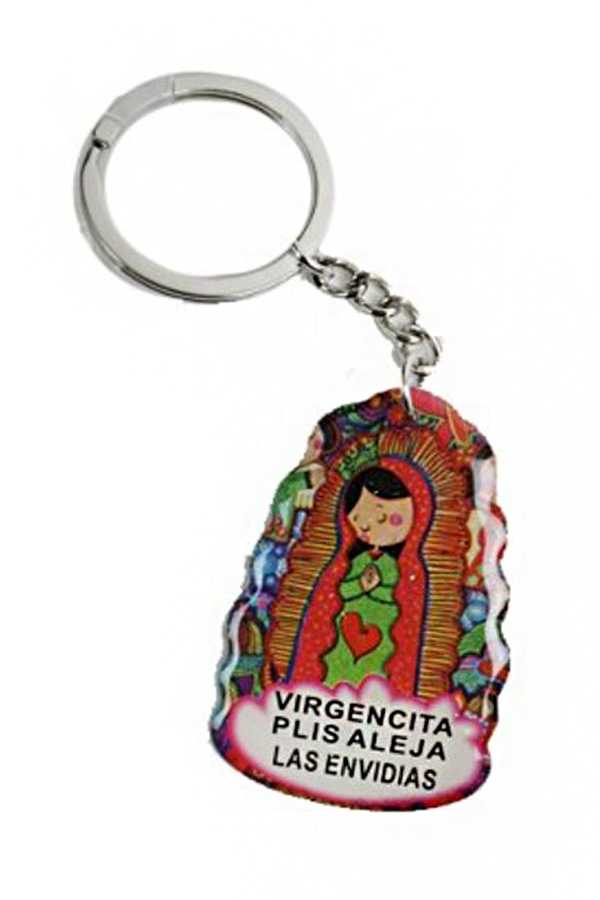 Novelty Cartoon Styled Virgen De Guadalupe Key Chain