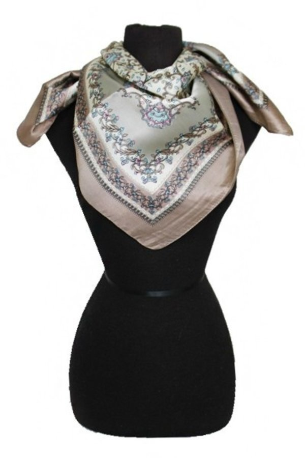 Vineyard & Artistic Frame Patterned Silk Felt Twill Square Scarf