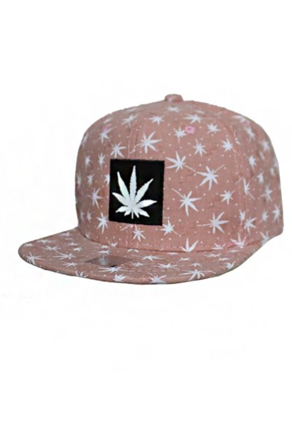 Patch Stitch Vintage Pastel Tone All over Marijuana Printed Design fashion Snap back