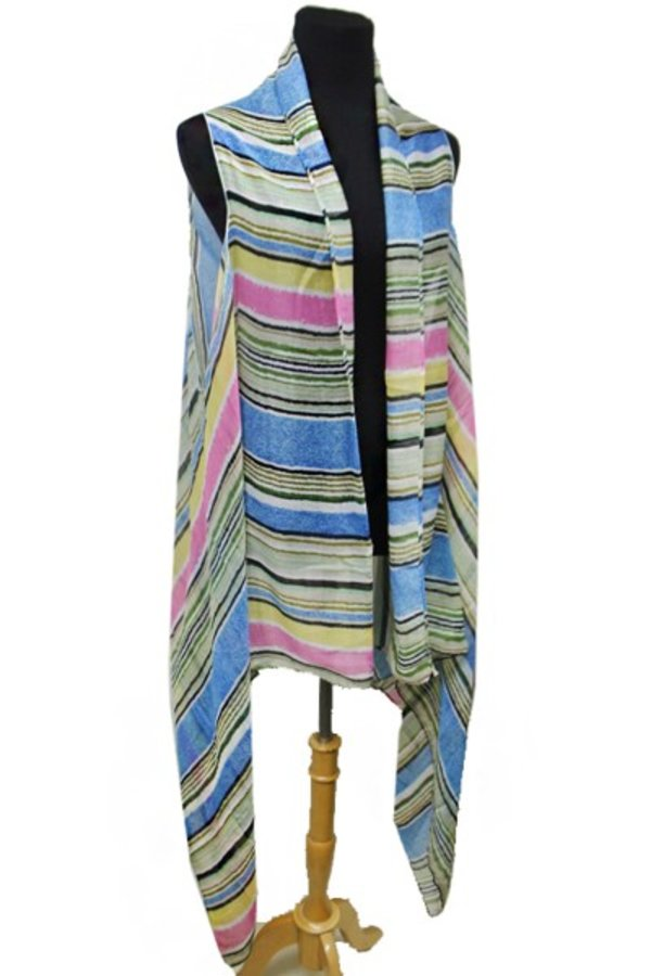 Colorful Chromatic Infinite Vertical Stripped Spring Decor Vests