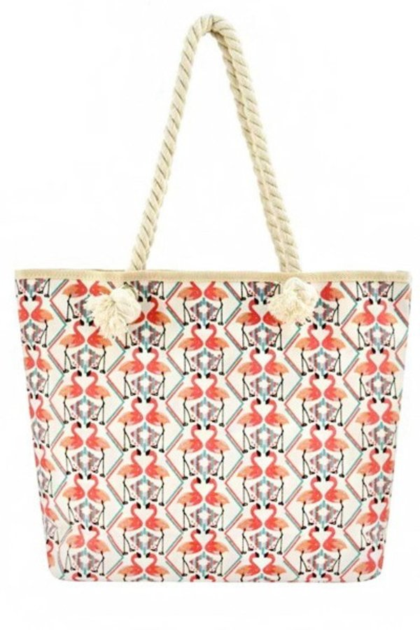 Flamingo Printed Festive Twist Rope Tote Bags
