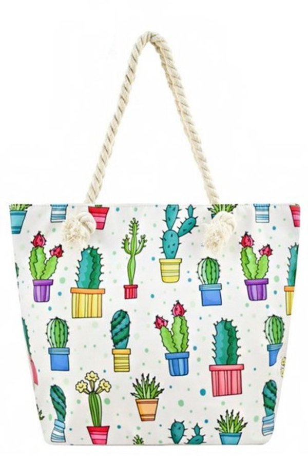 Vibrant Colorful Animated sketch Cactus Printed Tote Bags