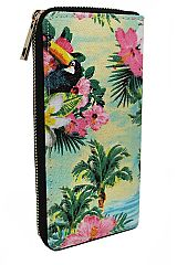 Tropical Leaf Scenery Printed Canvas Wallets