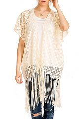 In The Polka Dot See Through Fashion Fringed Kimono Cover Up