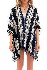 Color Chromatic Abstract Shape Chunky Tassel Kimono Cover Up