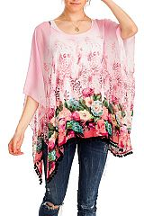 Floral Pattern Softness Chiffon Feel with Bubble Teasel Kimono Style