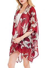 Off White Blossomed Over sized Gardenia Floral Distressed Hem Cover Up