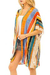 Multi Vertical Earthy Tone Gauze Like Fabric Cover Up