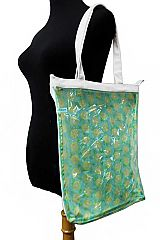 Clear PVC Flamingo and Lemon All-Print Strap Handled Canvas Tote Bag
