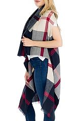 Soft To The Touch Cashmere Blend Plaid Printed Cardigan