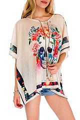 Splash Of Rebel Fashion Skull  Floral Boho Me Off Kimono Top