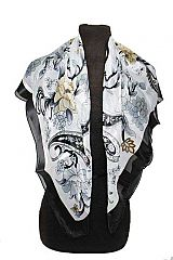 Paisley Floral Chiffon Silk Mix Square Scarves